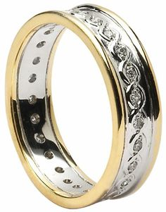 Celtic Knot Diamond Set Continuity Band with Rims