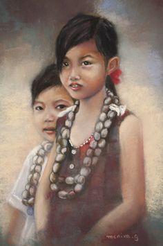 Les enfants aux colliers  Pastel by Monika.g - Monique Genain