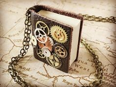 Real Book Necklace - Steampunk Gear Book Necklace - Steampunk Gears Necklace - Tiny Book Jewelry - Book With Pages Necklace - Gear Jewelry