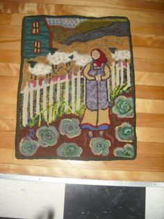 """""""Cabbage Patch Woman"""" hand hooked by Jackie Roop"""