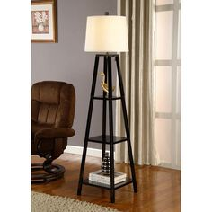 Artiva Usa Elliot 63 Tripod Floor Lamp Wood With Shelves