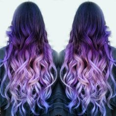 ombre purple hair dye – back view of dark to purple to light purple ombre hair Blonde Ombre Hair, Purple Balayage, Brown Ombre Hair, Lilac Hair, Ombre Hair Color, Cool Hair Color, Balayage Hair, Red Purple Hair Color, Ombre Hair Dye