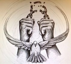 I wanna get this tattooed over my heart. It's the Holy Spirit (dove) and the hands breaking chains is you breaking free from your sin. So the Holy Spirit (God) frees you from your sins 16 Tattoo, Chain Tattoo, New Tattoos, Cool Tattoos, Tatoos, Gemini Tattoos, Badass Tattoos, African Tattoo, Broken Chain