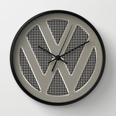 VW Silver Grill Wall Clock - $30.00 #clock #VW #Volkswagen #logo #Silver #Walldecor #homedecor #dorm