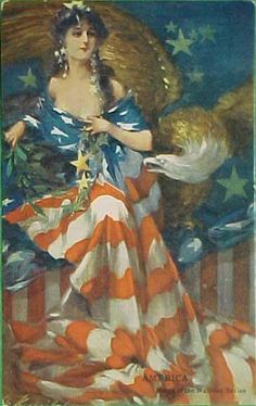 Vintage Americana, woman draped in American flag.