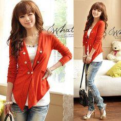 Korean Womens Asymmetric Long Sleeve Button Down Shirts Tops Blouses Orange 1882