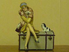 Powder Box Art Deco Half Doll Fasold Stauch with Her Neat King Charles Spaniel | eBay
