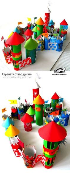 Cardboard tube castle advent calendar.. Wow.. wish I saw this a few weeks ago!! Repin!! #kids #crafts #activities #toddler #diy #Christmas #advent