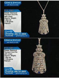 French cut sapphires add a touch of royal blue to the bottom of this wonderful diamond estate pendant. This pendant is in a platinum and is an antique setting.
