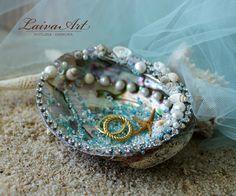 Seashell Wedding Ring Bearer Pillow Ring Holder Beach Wedding Ring Bearer…