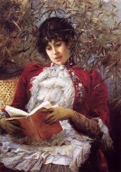"""""""An Enthralling Novel"""", 1885, by Julius LeBlanc Stewart (French, 1855-1919)"""