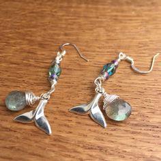 Valentines Gift, Boho Chic, Bohemian Jewelry, Gemstone Earrings, Whale Earrings, Labradorite Earrings, Bohemian, Gift for Mom, Whale Tail
