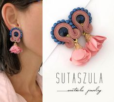 Summer trends Powder pink earrings soutache earrings soutache flower earrings pale pink clip on earrings soutache ohrringe clip on earrings Gold Diamond Earrings, Pink Earrings, Flower Earrings, Beaded Earrings, Clip On Earrings, Earrings Handmade, Handmade Jewelry, Coral Jewelry, Soutache Jewelry
