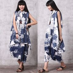 335a90e52bdf Casual Loose Fitting Cotton and Linen Sleeveless Blouse and Harem Pants  Suit- (R)Women Clothing