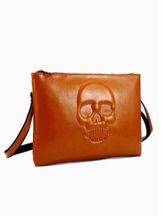 Shop Khaki Skull Graphic Leather Clutch from persunmall.com .Free shipping Worldwide.