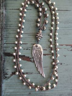 Angel wing crochet necklace - Boho Essential - long layering necklace sterling silver angel wing feather bohemian boho by slashKnots