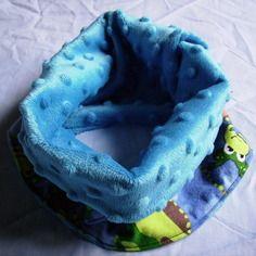 Snood en flanelle de coton grenouille et minky dots bleu turquoise