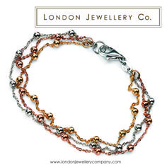Yellow #Gold plated, Rose #Gold plated and Sterling #Silver three cable bracelet - www.londonjewellerycompany.com