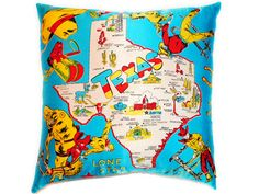 Vintage Texas Lone Star State Souvenir Pillow