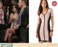 Robin's cream and black bandage dress on How I Met Your Mother. Outfit Details: http://wornontv.net/8621  This dress is on eBay - bids starting at $0.99!