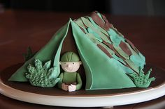 Army soldier and tent cake