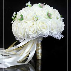 Cheap accessories speaker buy quality beads accessories designs new arrival wedding decoration artificial flower wedding bouquets colorful pom pom flores long ribbon bridal bouquet junglespirit Gallery