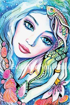 Shell Mermaid Face Gift Ideas Signed by EvitaWorks Fantasy Kunst, Fantasy Art, Mermaid Art, Affordable Art, Whimsical Art, Portrait Art, Portraits, Face Art, Doodle Art