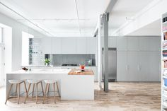 Bright kitchen in a former factory.