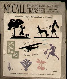 McCalls 1602 1928 Silhouette Applique Transfer | by R.O.Holcomb