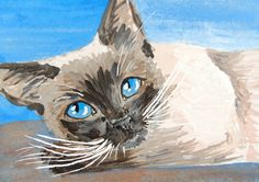 Siamese Cat Art ACEO Original Miniature Painting by Natalie