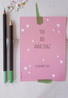 You are amazing. Ansichtkaart papier (1,75 per stuk) handgemaakt, paperlovers, Flow door marloesbijlsma, Studio Do It Yourselves. Te koop via mijn Etsy shop of info@doityourselves.nl