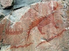 Examples of prehistoric rock art in Canada are petroglyphs and pictographs. Ancient Mysteries, Ancient Artifacts, Ancient Aliens, Ancient History, Statues, Gros Morne, Dinosaur Art, Mystery Of History, Prehistory