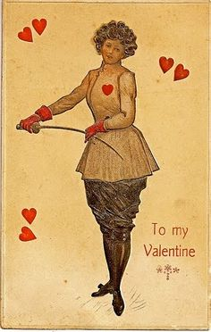 Someone couldn't resist that heart marking the touche point as an excuse to add more hearts and turn it into a valentine card, probably a postcard.  All the same, the picture is a pretty faithful representation of the turn of the century fencing costume.