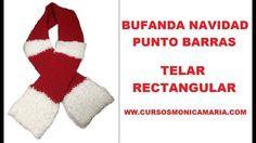 BUFANDA NAVIDAD PUNTO BARRAS TELAR RECTANGULAR //Tutorial paso a paso
