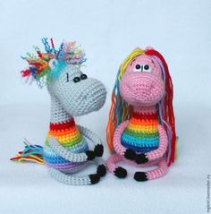 Вяжем крючком позитивный сувенир «Радужные лошадки» - Ярмарка Мастеров - ручная работа, handmade