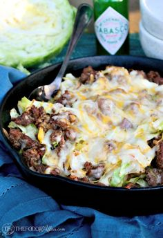 Cabbage Beef Skillet Recipe, Tex Mex Style with Mexican Cheese Blend! This low carb flavorful meal is ready in under thirty minutes! - Tex Mex Cabbage Beef Skillet Recipe Topped with Spicy Mexican Cheese Blend Cabbage Recipes, Mexican Food Recipes, Dinner Recipes, Irish Recipes, Dessert Recipes, Dessert Food, Greek Recipes, Shrimp Recipes, Dinner Ideas