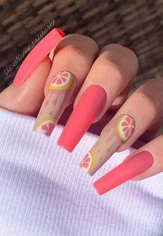Coral Acrylic Nails, Coral Pink Nails, Coral Nails With Design, Best Acrylic Nails, Nails Design, Fruit Nail Designs, Cute Summer Nail Designs, Cute Summer Nails, Acrylic Nail Designs