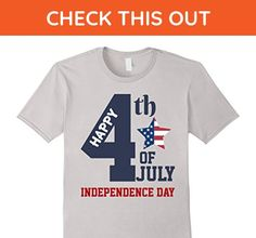 Mens Happy July 4th T-Shirt for Independence Day 2XL Silver - Holiday and seasonal shirts (*Amazon Partner-Link)