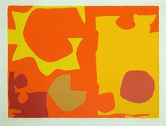 1 Patrick HERON Six in Light Orange with Red in Yellow  (1970), screenprint