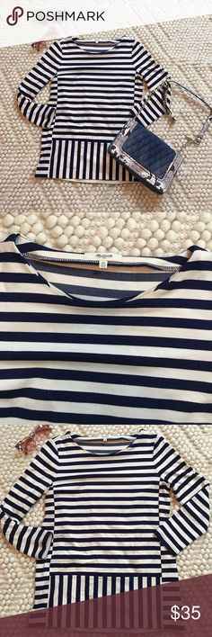 "MADEWELL striped top Excellent condition! Cream and navy. 88% viscose, 10% nylon, 2% spandex. Size XS. Length is 25"". Armpit to armpit is 17.5"". 3/4 sleeve Madewell Tops Tees - Long Sleeve"