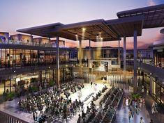 Terrace Event Space Shopping Mall Architecture, Japan Architecture, Commercial Architecture, Plaza Design, Mall Design, Mall Facade, Facade House, Westfield Century City, Facade Lighting