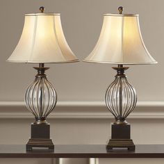 Table Lamps For Living Room Bedroom Set Of 2 Glass Orbs Pedestal Base Bell Shade Ontario, Stained Glass Designs, Tiffany Lamps, Lamp Sets, Fabric Shades, Drum Shade, Living Room Bedroom, Living Rooms, Desk Lamp