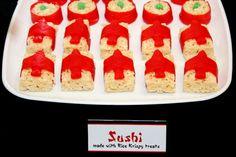 Fruit roll up sushi at a Ninja Party #ninja #partyfood