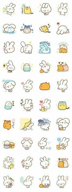 Bunny, rabbit, hamster, birds, neko, cat, text, emojis; Kawaii