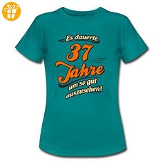 Geburtstag 37 Jahre RAHMENLOS® Gut Aussehen Spruch Frauen T-Shirt von Spreadshirt®, L, Divablau - Shirts zum geburtstag (*Partner-Link)