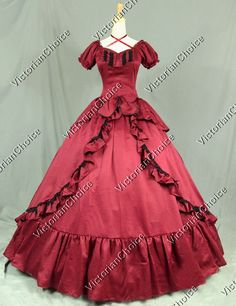 Victorian Period Red Dress Ball Gown Reenactment Halloween Costume Punk 206  XXL. Southern Belle ...