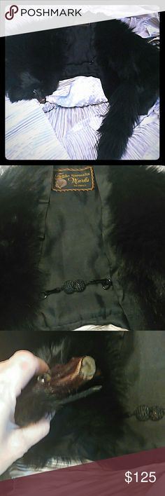 """Vintage black fox fur stole m Ladies perfectly lovely vintage full black fox thick stole. 13"""" down the back 26"""" long from shoulder down to end of fox tail 16' shoulders 13"""" shoulder to bottom front brocade ball chain strap front can also be used as a collar fox mouth opens and clips to a metal circle clap inside the stole Jackets & Coats Capes"""