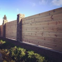 Duck Rd property. Gabion pillar front fence. Designed by Landscape Concepts by Richard. #landscapedesign #fence www.richardlandscapeconcepts.co.nz