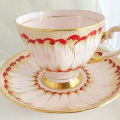 Plant Tuscan China English Bone China Vintage Teacup & Saucer Set - Pink Gold Burgundy Red - 1930s Balloon - hand-painted raised flower