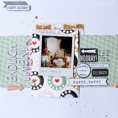 Finally Mine. - Scrapbook.com- simple birthday layout with darling embellishments and layered paper.